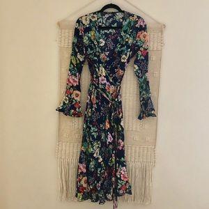 Floral bohemian wrap dress.